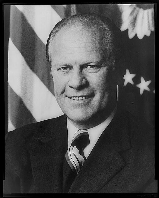 [Gerald R. Ford, half-length portrait, facing front, with arms crossed]