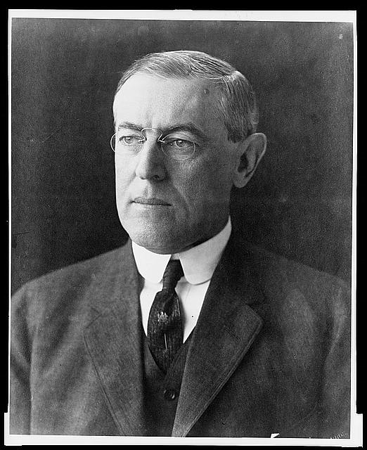 [Woodrow Wilson, head-and-shoulders portrait, facing left]