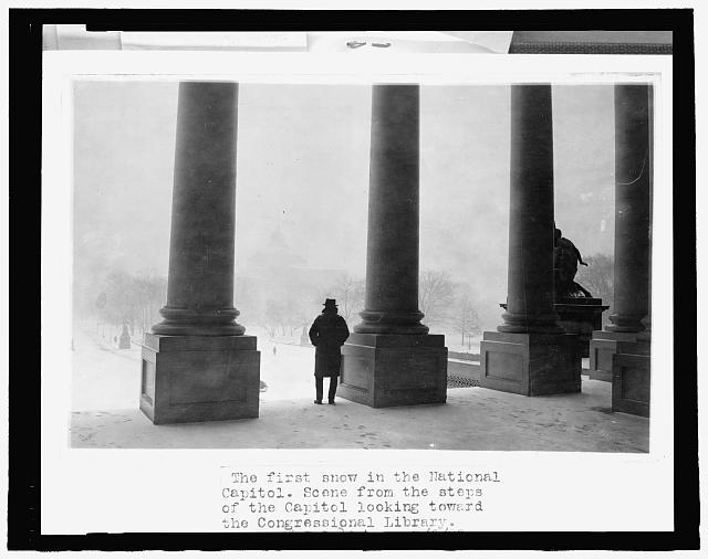 The first snow in the National Capitol - scene from the steps of the U.S. Capitol, looking toward the Congressional Library