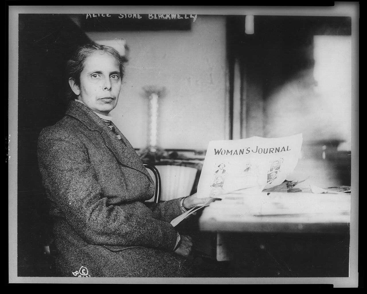 [Alice Stone Blackwell, half-length portrait, seated, facing right, holding copy of Woman's Journal, of which she was editor]