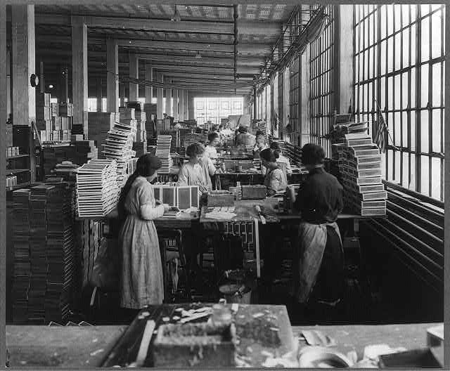 Johnston, F. B., photographer. (ca. 1910) Wooden Box Industry: women in work room of box factory. [Photograph] Retrieved from the Library of Congress,