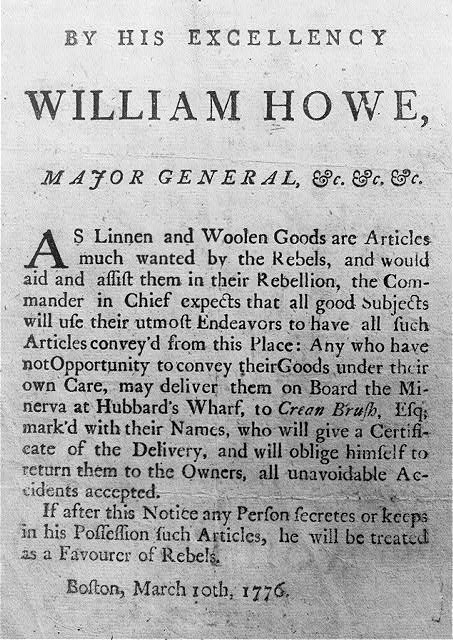 Broadside of Revolutionary War period: [Proclamation by Gen. Howe against assisting Rebels. Boston, Mar 10, 1776]