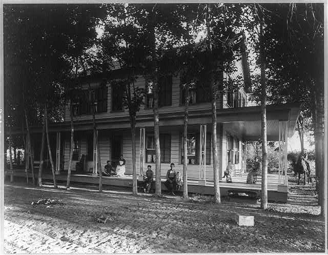 Headquarters Residence, Crocker Ranch; family on porch