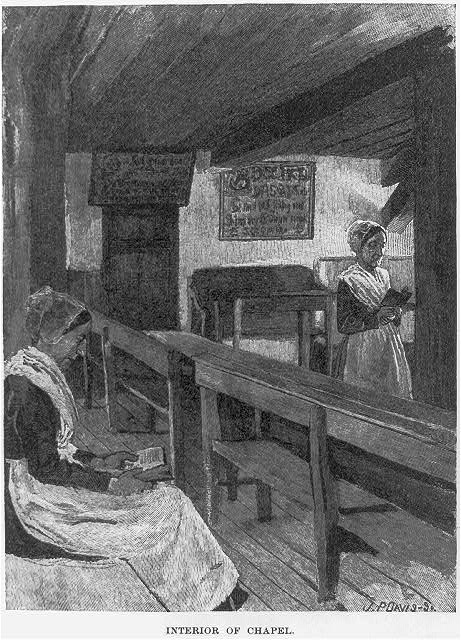 "[Wood engraving from drawing by Howard Pyle which illustrated his article, ""A Peculiar People,"" in Harper's New Monthly, Oct. 1889, pp. 776-785. Dunker religion in Pennsylvania: Interior of Chapel]"
