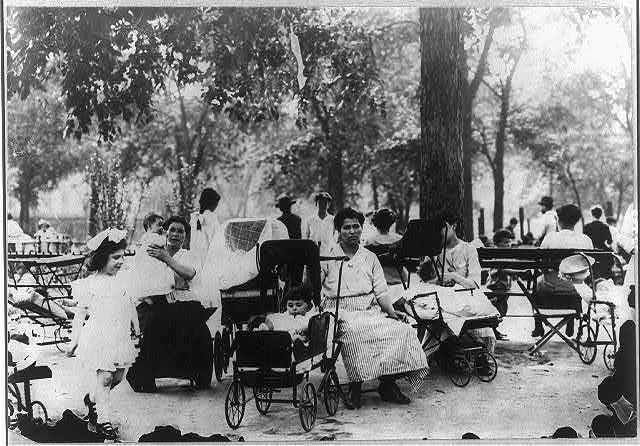 [Mothers and children in a city park on a hot day, New York City]