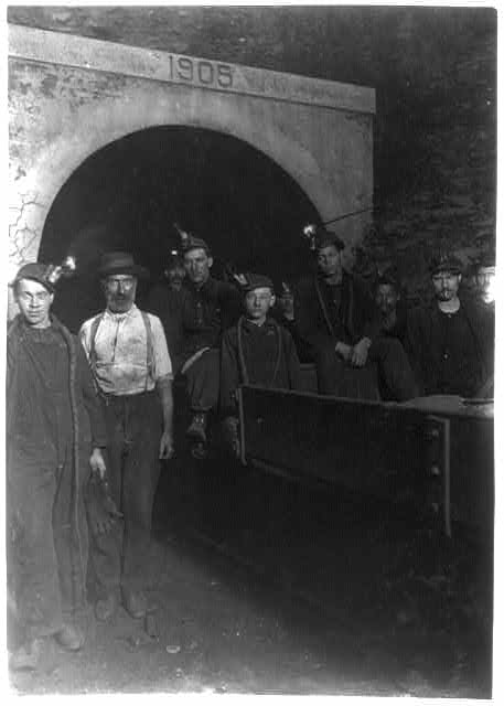 National Child Labor Committee. No. 72. Main entrance, Gary W. Va. Mine. Drivers and miners going to work 7 A.M. stay underground until 5:30 P.M.  Location: Gary, West Virginia.