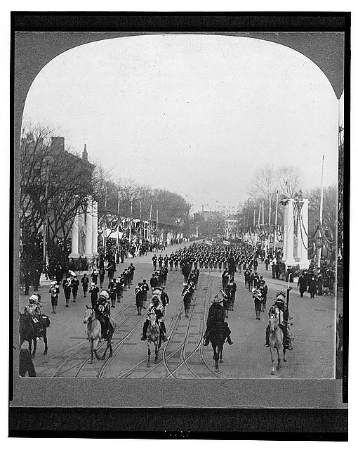 Indian chiefs headed by Geronimo, passing in review before President Roosevelt, Inauguration Day, 1905, Washington, D.C., U.S.A.