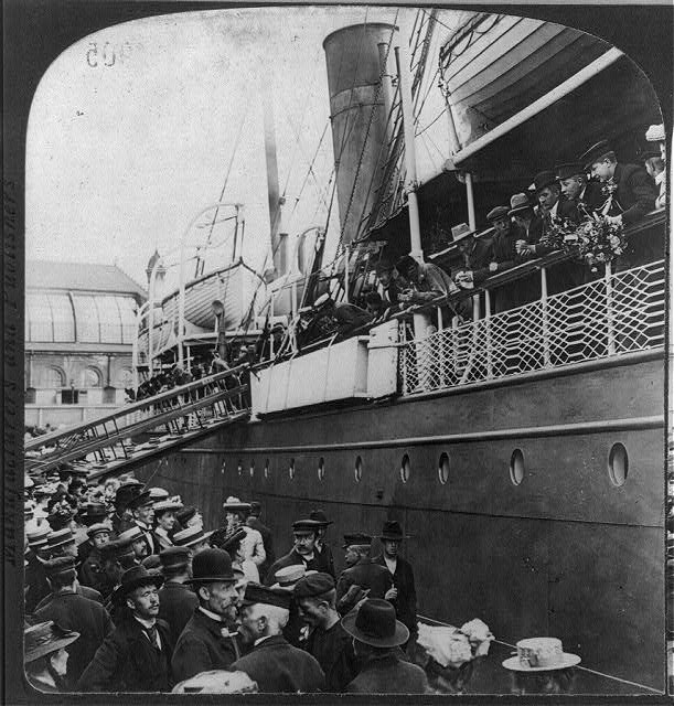 S.S. ANGELO (Wilson Line steamship) leaving Christiana, Norway, with emigrants for America