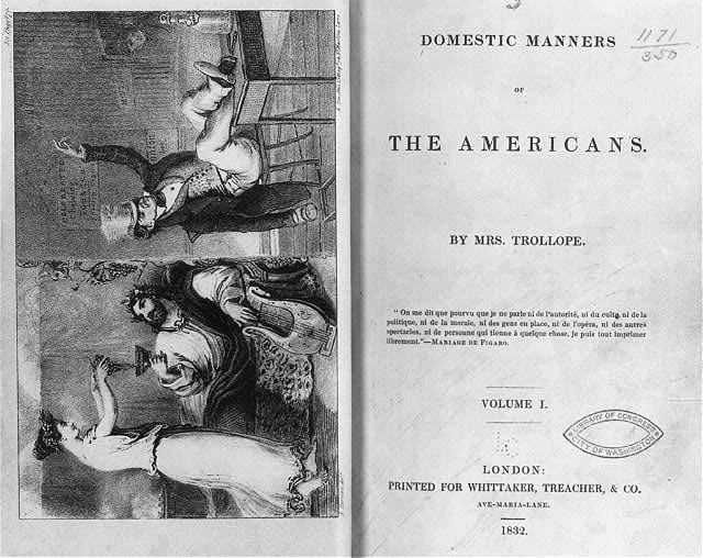 [Diptych showing Roman decadence compared to American: Roman in reclining with lyre, drinking wine served by young woman; American is drunk from whiskey, with feet on table - copy neg. includes title page]