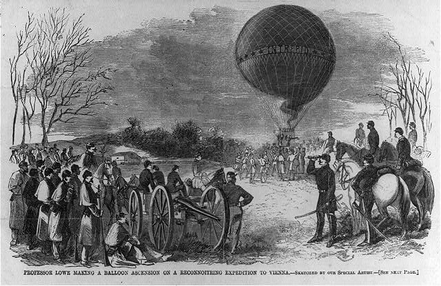 Prof. T. Lowe making a balloon ascension on a reconnoitring expedition to Vienna, Va.