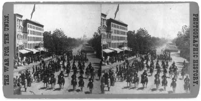 "Grand review of the great veteran armies of Grant and Sherman at Washington, on the 23d and 24th May, 1865. Sherman's grand army. Looking up Pennsylvania Ave. from the Treasury Buildings, during the passage of the ""Red Star"" Division"