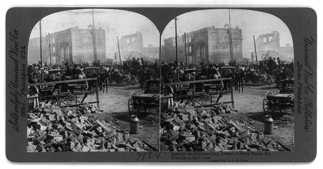San Francisco Earthquake and Fire, 1906: Leaving the stricken city, crowd at Ferry Depot, April 1906