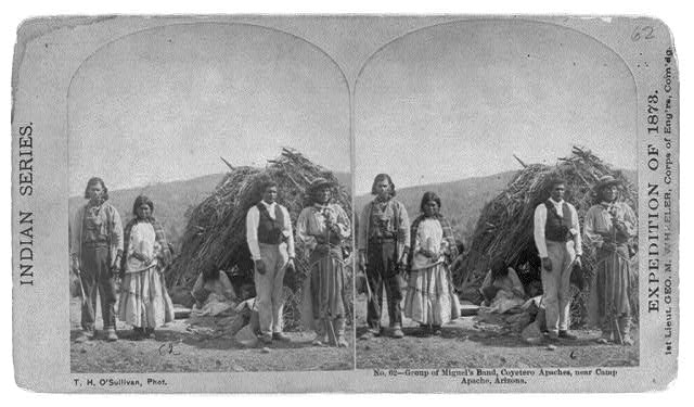 Group of Miguel's band, Coyetero Apaches, near Camp Apache, Arizona.