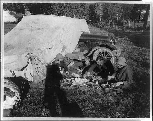 Tower Falls public auto camp party - probably in or near Yellowstone Park