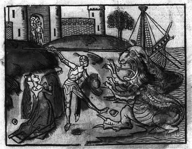 [Knight in armor slaying dragon; woman kneeling]