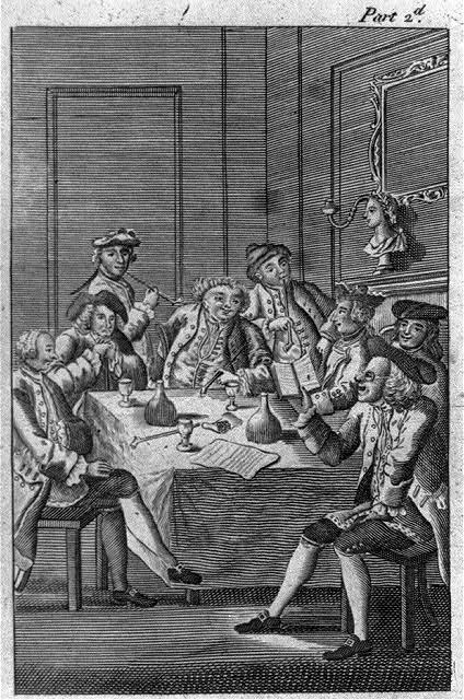 [Eight men around table, drinking and smoking; one is reading]