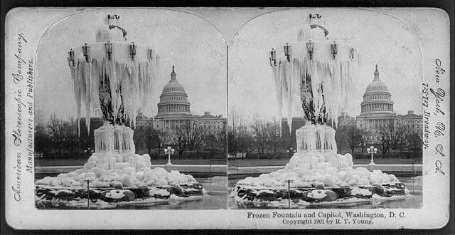 Frozen Fountain and Capitol, Washington, D.C.