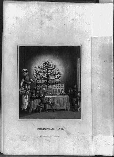 "[Title page and frontis. of The Stranger's Gift, Boston, 1836 (Hermann Bokum, ed.): frontis, showing children around tree lighted with candles on table full of toys; titled ""Christmas Eve""]"