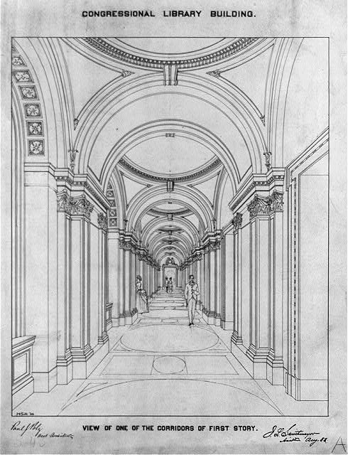 [Library of Congress, Washington, D.C. View of corridors of first floor]