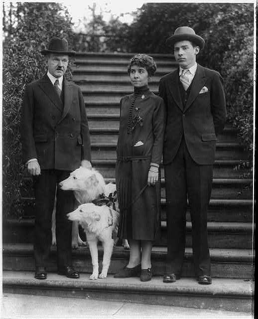 Pres. and Mrs. Coolidge with their son John who came home to spend the Christmas holiday with them at the White House