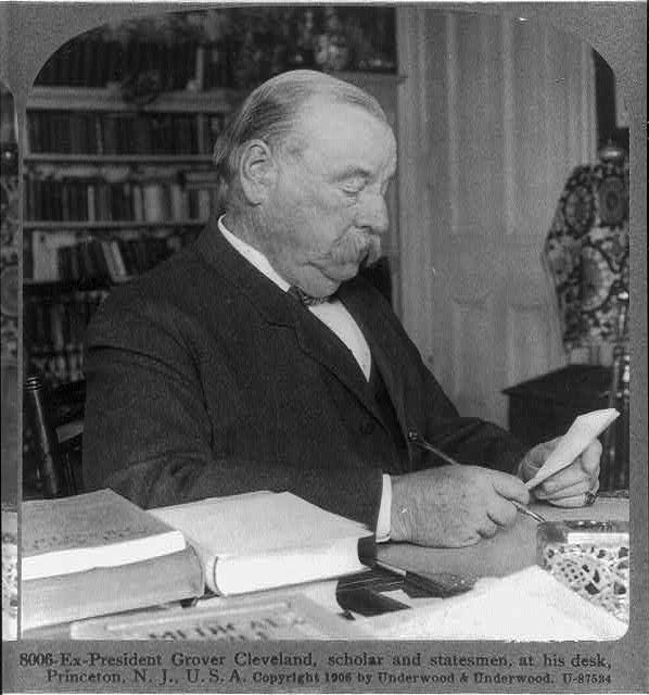 Ex-President Grover Cleveland at home in Princeton, N.J.: scholar and statesman, at his desk
