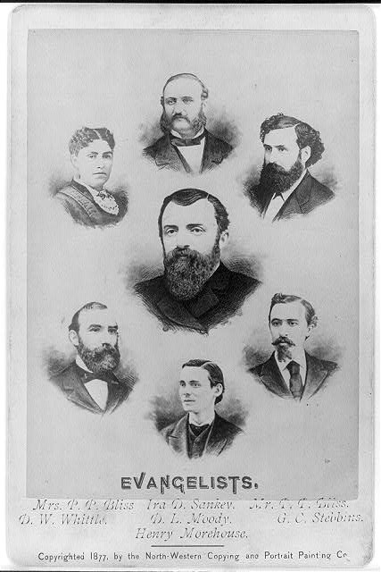 [Reproduction of composite of 7 bust engravings of D.L. Moody, Mrs. P.P. Bliss, Ira D. Sankey, P.P. Bliss, D.W. Whittle, G.C. Stebbins and Henry Morehouse]
