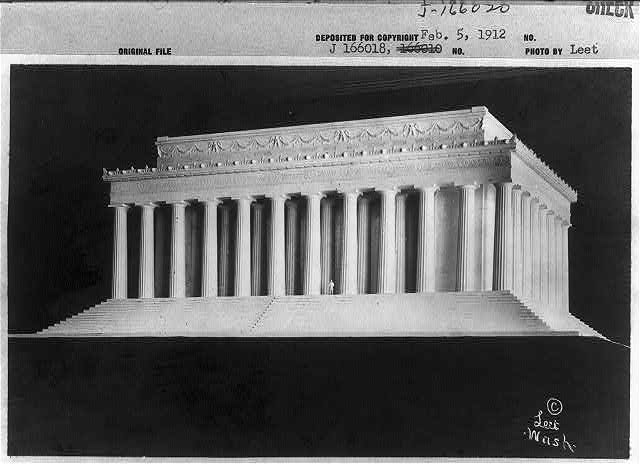 D.C. Washington. Lincoln Memorial. 1912. Plans. Two Views, showing model and proposed location
