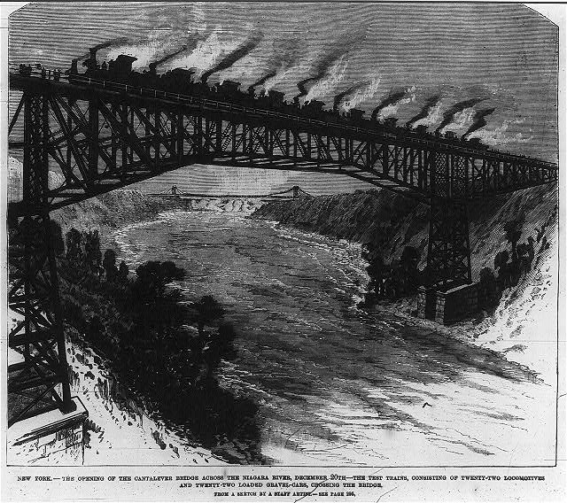 New York - the opening of the Catalever Bridge across the Niagara River, December 20th - the test trains, consisting of twenty-two locomotives and twenty-two loaded gravel-cars crossing the bridge