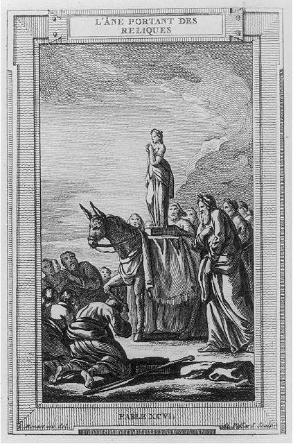 [Illustration of ancient fable of men worshipping an ass bearing a religious relic]