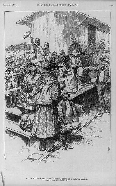 The Negro exodus from North Carolina - scene at a railway station
