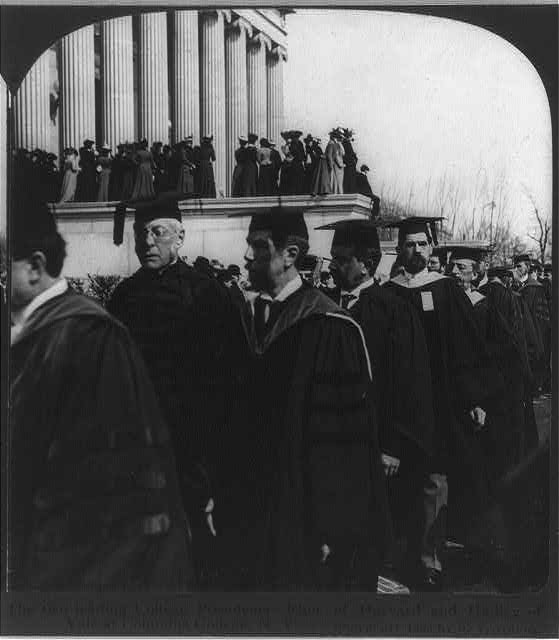 The two leading college presidents [Charles William] Eliot of Harvard and [Arthur Twining] Hadley of Yale [in academic robes with others] at Columbia College, N.Y.