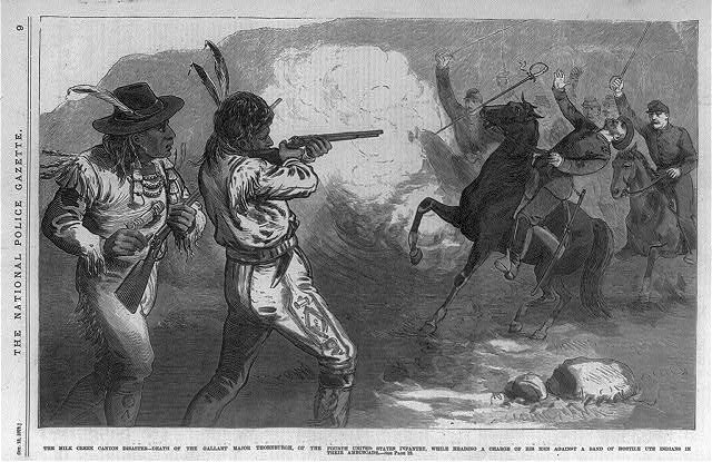 The Mile Creek Canyon disaster - death of the gallant Major Thornburgh, of the Fourth United States Infantry, while heading a charge of his men against a band of hostile Ute Indians in their ambuscade