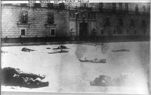 Mexico City - dead men & horses in street before National Palace, Feb. 1913