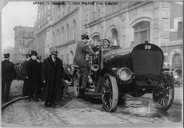 [New motor fire engine, New York City, and Chief Kenlon]