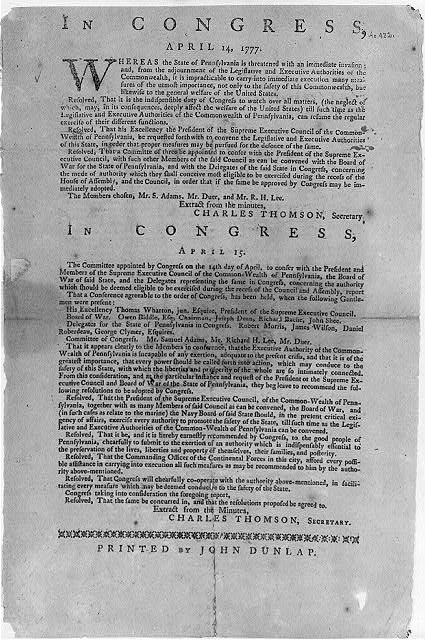 Continental Congress Broadside, 1777 : [April 14-15 resolves on Committee of Conference meeting with Pennsylvania officials]