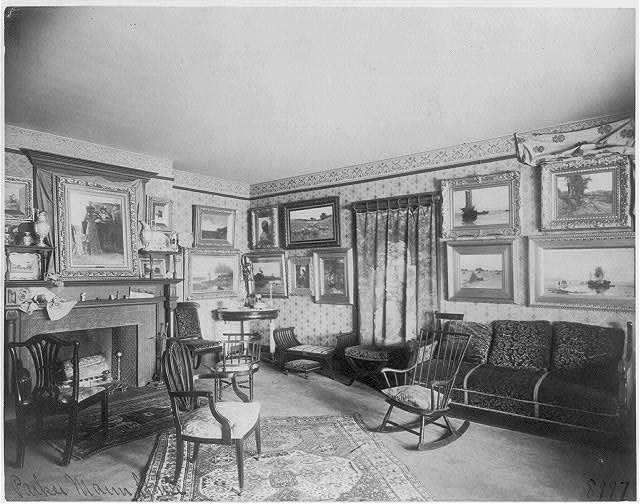 "[Interior of Parker Mann house, ""Tanglebank,"" Kalorama Avenue, N.W., Washington, D.C. - room filled with paintings]"