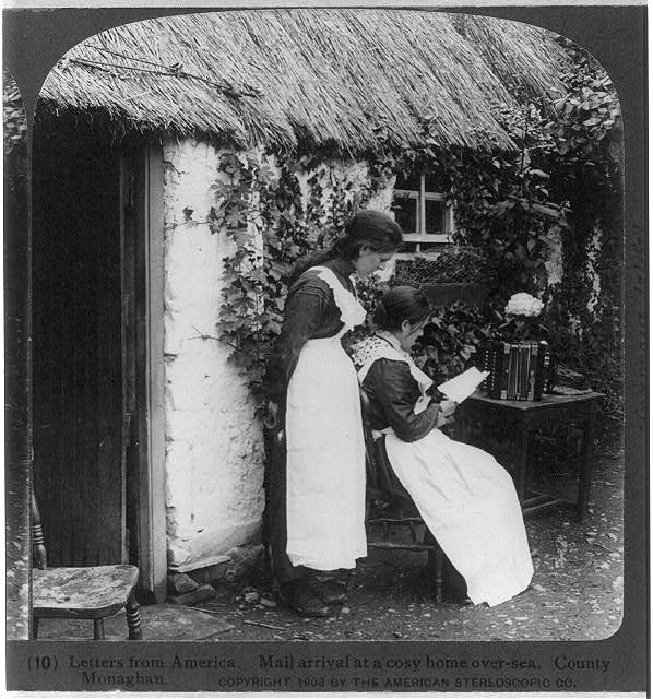 Letters from America. Mail arrival at a cosy home over-sea. County Monaghan