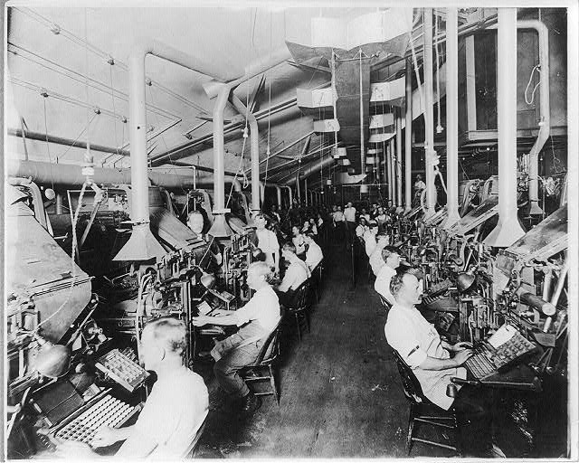 Newspaper publishing - N.Y. Herald: Composing room and linotype machines