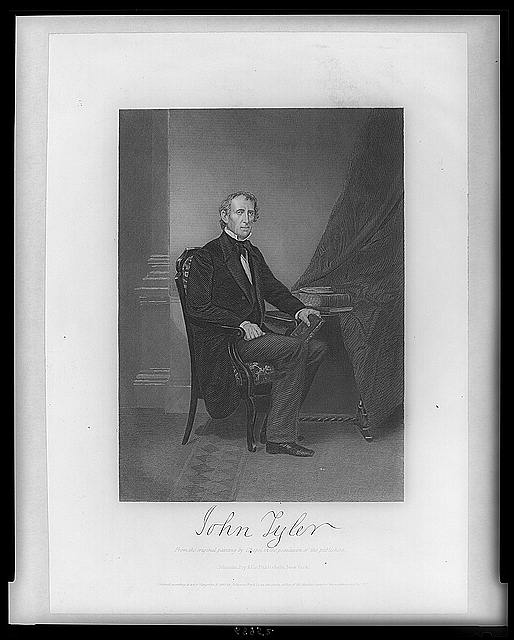 [John Tyler, full-length portrait, seated at table, facing right]