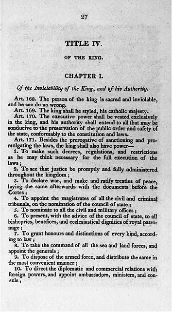 Title IV, of the King; Chapter I, Of the Inviolability of the King...