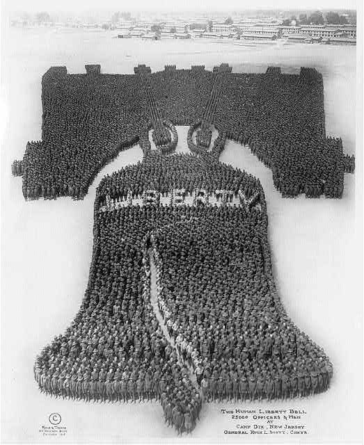 The Human Liberty Bell; 25000 officers and men at Camp Dix, New Jersey; General Hugh L. Scott, comdr.