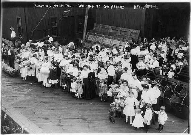 Medicine and hospitals - floating hospital - waiting to go aboard, N.Y.C.