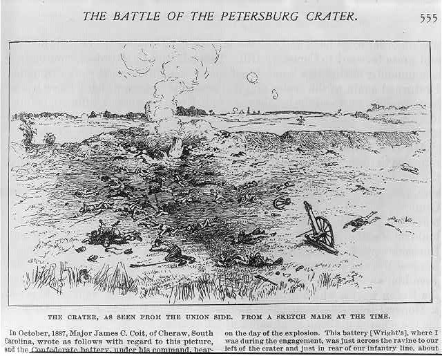 The Battle of the Petersburg Crater: The Crater, as seen from the Union side. From a sketch made at the time