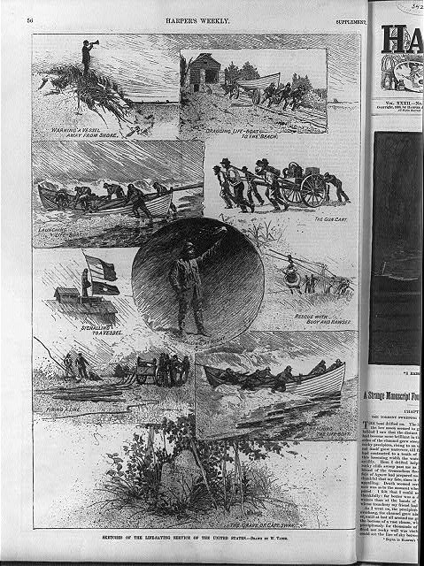 Sketches of the life saving service of the United States [with the use of life boat, buoy and hawser, etc.]