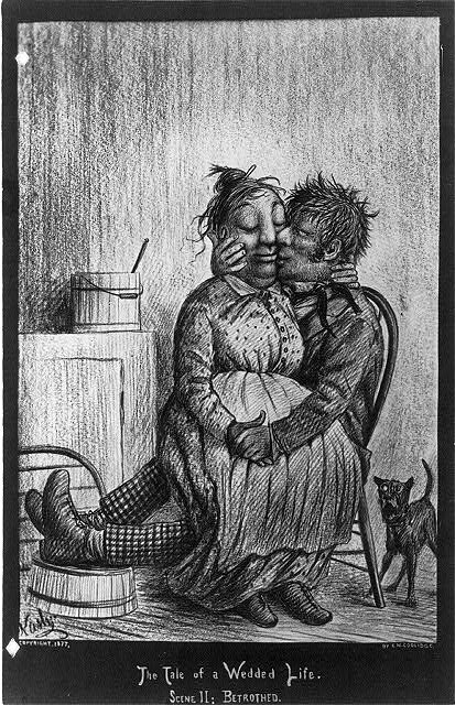 The Tale of a Wedded Life, in Ten Scenes, by Cassius M. Collidge [couple in domestic scenes]: Scene II - Betrothed [woman on man's lap]