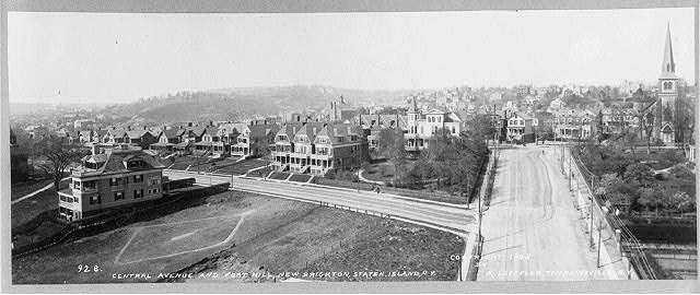 New Brighton, Staten Island, N.Y. [Bird's-eye view]: Central Avenue and Fort Hill