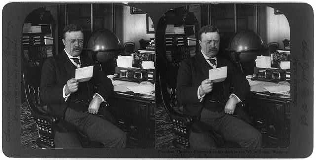 President Theodore Roosevelt at his desk in the White House, Washington, D.C.
