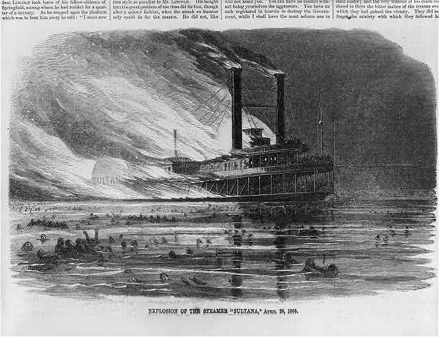 Explosion of the steamer SULTANA, April 28, 1865