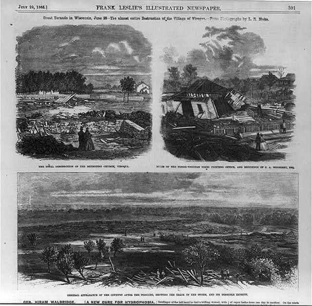 Great tornado in Wisconsin, June 28 - the almost entire destruction of the village of Viroqua [3 illus.]: 1.  Total destruction of the Methodist Church; 2. Ruins of the North-Western Times Printing Office, and residence of J.A. Somerby, Esq.; 3. General appearance of the country after the tornado, showing the track of the storm, and its terrible effects