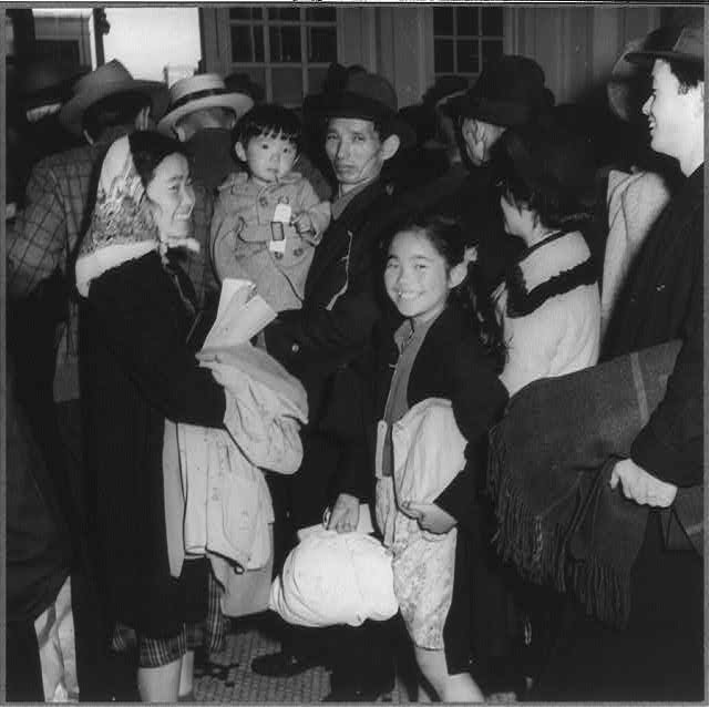 San Francisco, Calif., April 1942 - scene at Wartime Civil Control Administration station when the first group of 664 persons of Japanese ancestry was evacuated from San Francisco